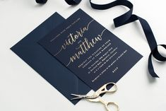 Navy and gold hot foil printed wedding invitations by Project Pretty Luxury Wedding Invitations, Wedding Stationery, Paper Goods, Printed, Navy, Hot, Pretty, Projects, Log Projects