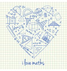 I love math doodles in heart vector by kytalpa on VectorStock®