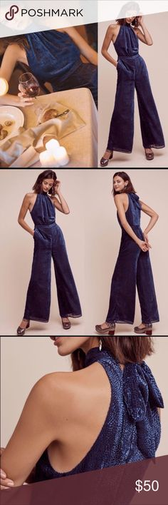 """ANTHROPOLOGY Nova Jumpsuit SZ NWT blue New with tags. This jumpsuit is gorgeous! I purchased it off of here for a Holiday party and wore a dress. It's very flattering and chic! 30"""" inseam, machine washable, pockets, lined, and tie closure Anthropologie Pants Jumpsuits & Rompers"""