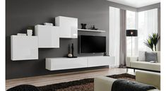 JUSTyou Swotch X wall unit white graphite - Living Room Wall Units, Living Room Modern, Living Room Interior, Living Room Furniture, Living Room Designs, Living Room Decor, Modern Tv Wall Units, Modern Wall, Modern Glass