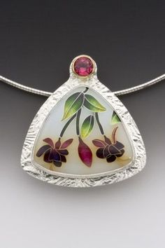 Pendant Enamel, 22k and 24k gold, sterling and fine silver, and pink topaz One-of-a-kind SOLD