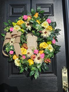Spring or Summer Wreath Front Door Wreath by hollyhillwreaths