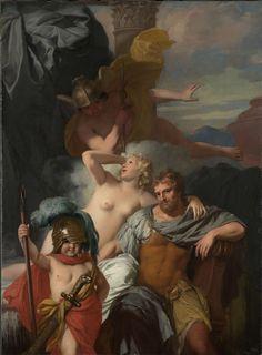 Gerard de Lairesse | Mercury Ordering Calypso to Release Odysseus, Gerard de Lairesse, c. 1680 | Mercurius gelast Calypso om Odysseus te laten vertrekken. Op de voorgrond poseert een Amor met de helm en wapens van Odysseus.