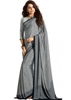 Casual Wear Black & White Crepe Saree - RKAM5108