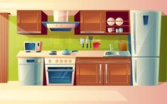 vector cartoon cooking room interior kitchen counter with appliances - washing machine toaster fridge microwave kettle blender stove potholder. Kitchen Interior, Room Interior, Kitchen Design, Casa Anime, Episode Interactive Backgrounds, Kitchen Background, Anime Scenery Wallpaper, House Illustration, Smart Home