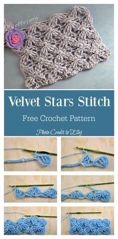 Crochet Stitches For Beginners Velvet Stars Stitch Free Crochet Pattern - The Velvet Stars Stitch Hat and Scarf Free Crochet Pattern uses the same stitch. It is easy to crochet the other part of the set when you have already crocheted one. Crochet Star Stitch, Crochet Stars, Filet Crochet, Crochet Motif, Crochet Roses, Learn Crochet, Crocheted Flowers, Crochet Mandala, Crochet Afghans