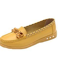 MatchLife Damen Vintage Leder Flach Pumpe Casual Schuhe Bow Style5 Gelb 37 - http://on-line-kaufen.de/matchlife/eu37-ch38-matchlife-damen-vintage-leder-flach-68