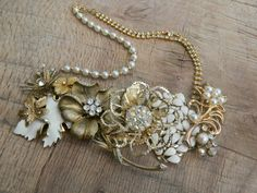 Upcycled VINTAGE gold and pearl Flower collage assemblage Necklace,Statement, OOAK, Wedding, Bride, Repurposed Vintage Jewelry on Etsy, $124.00