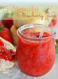 Use your fresh summer berries to make this quick and easy 15-minute jam! #recipe #strawberries