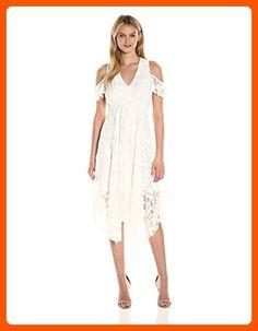Taylor Dresses Women's Cold Shoulder Alternative Hem Lace Midi Dress, White, 8 - All about women (*Amazon Partner-Link)