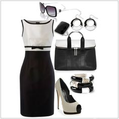 Black and white classic dress with bow . Outfits for Women Stylish Work Outfits, Summer Work Outfits, Classy Outfits, Summer Clothes, Casual Outfits, Work Fashion, Fashion Looks, Fashion Outfits, Womens Fashion