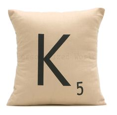 Personalized Initial SCRABBLE LETTER pillow by PersonalizedWorld, $15.00