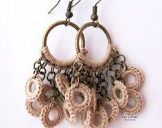Shabby chic beige earrings. Eco- jewelry. Crochet bohemian earrings. Rustic wedding. Bridal gift. Dangle earrings. Natural cotton and brass.