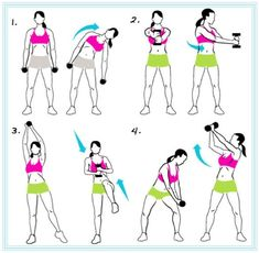 Standing Abs Workout: choose weights   wisely. Never choose high lbs at first work up to higher pounds because you   could strain or tear your shoulder.