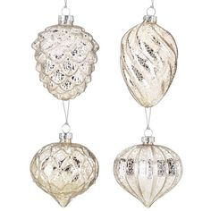 Antique Silver 4-piece Glass Ornament Set by Lenox