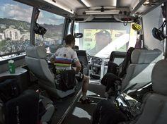 Mark Cavendish in Sky Team Bus