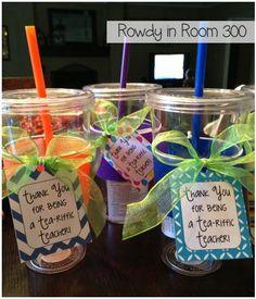 Tea-riffic teacher gifts- great teammate gifts! freebie tags