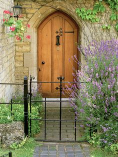 European photo of gothic cottage door with lavender in Lower Slaughter(Cotswolds), England by Dennis Barloga Cool Doors, Unique Doors, Portal, Lavender Cottage, Lavender Garden, Cottage Door, Door Gate, Fine Art Photo, Grand Entrance