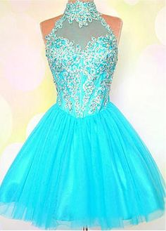 Cute Blue High Neck Short Tulle Homecoming Cocktail Dress Cwb0236