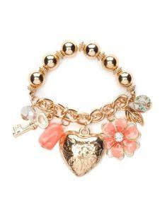etched heart charm bracelet