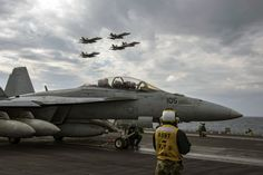 https://flic.kr/p/Qd3XT8 | USS Dwight D. Eisenhower conducts flight operations. | MEDITERRANEAN SEA (Dec. 13, 2016) Aircraft assigned to Carrier Air Wing (CVW) 3 fly in formation above the flight deck of the aircraft carrier USS Dwight D. Eisenhower (CVN 69) (Ike) during flight operations. Ike, currently deployed as part of the Eisenhower Carrier Strike Group, is conducting naval operations in the U.S. 6th Fleet area of operations in support of U.S. national security interests in Europe…