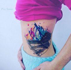 Mountainous Book Tattoo by Pissaro