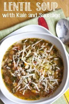 Hearty and healthy lentil soup with kale, sausage, and garlic oil from mylittlegourmet.com