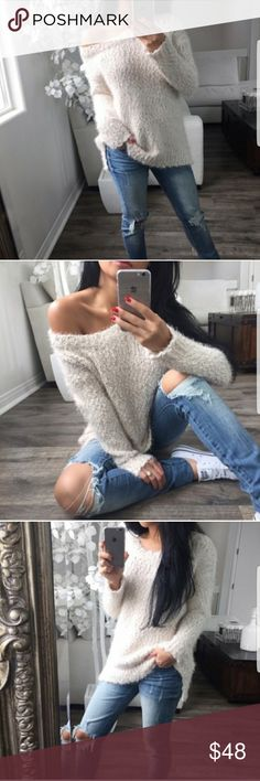 Beige Softest Fuzzy Knit LS Re- posh from the beautiful @itselaine closet. All photos belong to her and credit goes to her. Brand new. Size XS. Priced Higher due to Posh Fees. Price Firm. Ekattire Sweaters