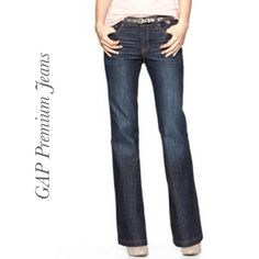 "GAP Premium Jeans Dark denim boot cut jeans. Premium Long & Lean. Worn 2x; minor signs of wear on hem (see pic). Measurements: 36"" waist, 32"" inseam, 9"" rise. 85% Cotton. 13% Polyester 2% Spandex. ❌Firm PriceTradePP ↪️Fast ShippingBundle Discounts GAP Pants"