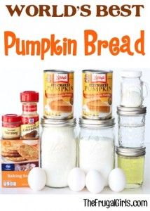 World's Best Pumpkin Bread Recipe - from TheFrugalGirls.com