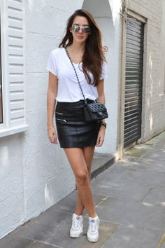chanel sneakers leather skirt white tee street style chanel mini flap
