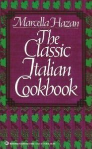 The Classic Italian Cookbook by Marcella Hazan. Site shows her famous Tomato Sauce with Butter and Onion.