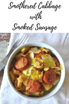 This recipe for Smothered Cabbage with Smoked Sausage was something I was pointed towards a few years ago when I was inundated with bountiful cabbage. Keto Veggie Recipes, Cooking Recipes, Healthy Recipes, Healthy Meals, Healthy Eating, Dinner Dishes, Food Dishes, Side Dishes, Main Dishes