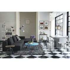 monochromatic with pops of blue and purple-  circuit electric blue coffee table | CB2 (November catalog)