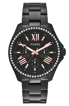 Free shipping and returns on Fossil 'Cecile' Multifunction Bracelet Watch, 40mm at Nordstrom.com. A sparkling crystal bezel and shiny rose-gold Roman numerals glam up a modern black watch boasting day, date and 24-hour subdials.