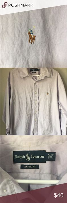 Polo dress shirt Nice Lavender oxford polo shirt.I couldn't really pick up the color but it look like the one being posted. 17 1/2. 32/33 no flaws just s a little wrinkled. Polo by Ralph Lauren Shirts Dress Shirts