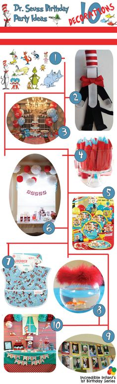 Dr. Seuss Birthday Party Ideas Decor - http://www.incredibleinfant.com