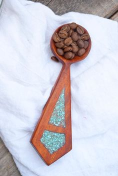 Image of African Mahogany and Turquoise scoop