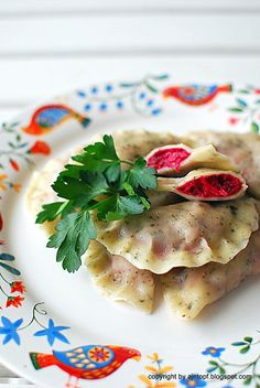 Beetroot and sauerkraut dumplings