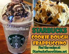 Starbucks Cookie Dough Frappuccino! One of our most popular Frappuccinos of all time! Recipe: http://starbuckssecretmenu.net/starbucks-secret-menu-cookie-dough-frappuccino/