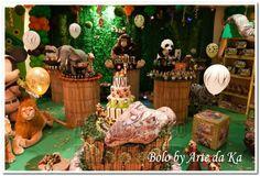 bolo festa safari decoração