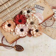 1-Inch Prima Marketing Brown Sugar Hillsboro Paper Flowers 48-Pack