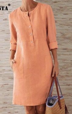 Simple Dresses, Casual Dresses, Casual Outfits, Hijab Fashion, Fashion Dresses, Modele Hijab, Mein Style, Everyday Dresses, Linen Dresses