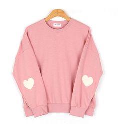 nice 2016 de mulheres harajuku estilo preppy de manga pêssego coração de rosa cor sólida camisola hoodies do vintage para mulheres em Moletons de Roupas e Acessórios no AliExpress.com | Alibaba Group