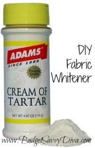 DIY Fabric Whitener It is SO simple and can't believe that it works. You take one cup of cream of tartar (used in baking for somefrostingto make them white, so that's why this makes so much sense) and three cups of water. Mix together in a clean bucket and let your-at one time white shirts- soak and enjoy a fresh white shirt after washing in a regular cycle.