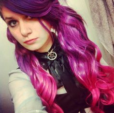 Purple pink ombre dyed hair in ponytails (Ariel)