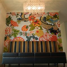 DIY painted wall (enlarged from an art deco block print tapestry)