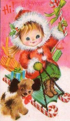 Little Girl Christmas Card ~ (54Z)
