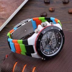 Men's Dual Time Zones Analog Electric Waterproof Luminous Wrist Watch
