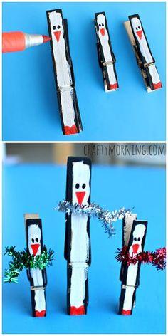 Manualidad de invierno para niños pequeños. Hacer un pingüíno con una pinza